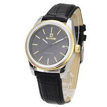 BIAOQI AE-1118 Stainless Steel Date Display Automatic Mechanical -Black Leather Band Black Golden Dial