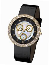 Glamour Time GT800G3-1 Ladys Wrist Black Leather Strap