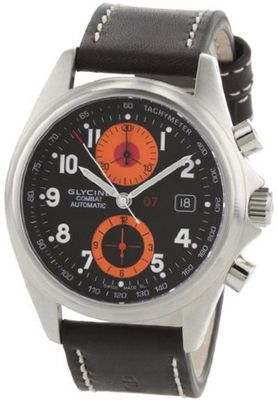 Glycine Combat Chrono black/Orange Dial on Strap