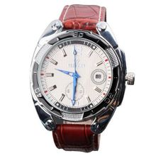 GOER Fashion Date  Brown Leather Band White dial Mechanical Wrist