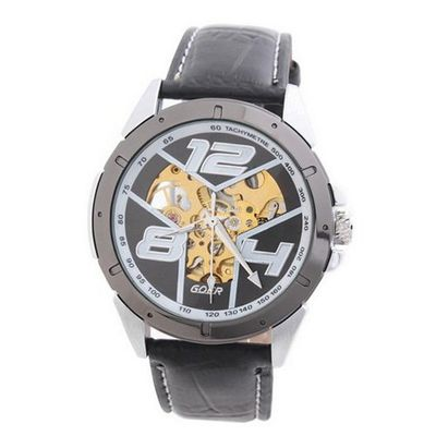 Goer Fashion  Military Hand-winding Mechanical Analog Wrist Black