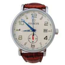 Goer  Mechanical Date White Dail PU Wrist