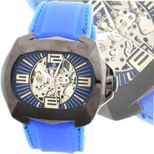 Goer Silicon Rubber Big Band Army Military  Auto Mechanical See Through Wrist Blue