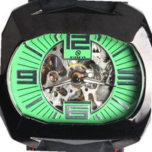 Goer Silicon Rubber Big Band Army Military  Auto Mechanical See Through Wrist Green