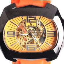 Goer Silicon Rubber Big Band Army Military  Auto Mechanical See Through Wrist Orange
