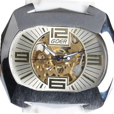 Goer Silicon Rubber Big Band Army Military  Auto Mechanical See Through Wrist White