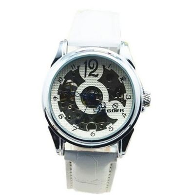 Goer Skeleton PU Band White Dial Mechanical Wrist