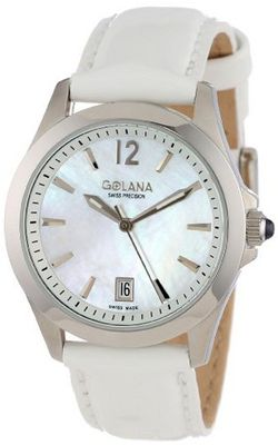 Golana Swiss AU100-7 Aura Pro White Mother-of-Pearl Dial Leather