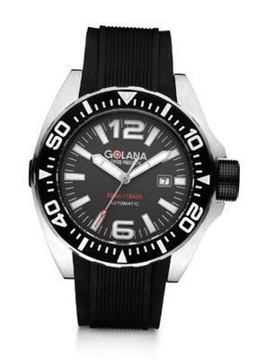 Golana Advanced Aqua Automatic with Grey Dial Analogue Display and Black Rubber Strap ADQ100-2