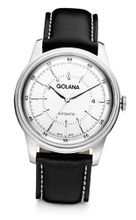 Golana Advanced Automatic with Silver Dial Analogue Display and Black Leather Strap AD400-2