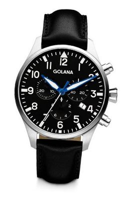 Golana Aero Chrono Quartz with Black Dial Chronograph Display and Black Leather Strap AE600-1