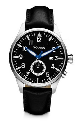 Golana Aero Gmt Quartz with Black Dial Analogue Display and Black Leather Strap AE500-1