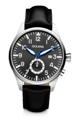 Golana Aero Gmt Quartz with Grey Dial Analogue Display and Black Leather Strap AE500-2