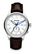 Golana Aero Gmt Quartz with Silver Dial Analogue Display and Brown Leather Strap AE500-3