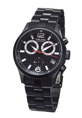 Golana Aero Pro Black Swiss Made Aviators Chronograph AE210-2