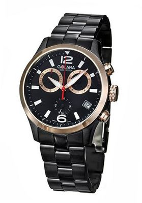 Golana Aero Pro Black Swiss Made Aviators Chronograph AE220-2