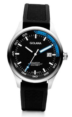 Golana Aqua Three Hands Quartz with Multicolour Dial Analogue Display and Black Rubber Strap AQ400-3