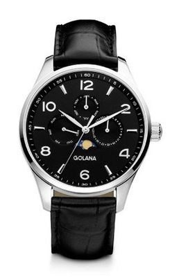 Golana Classic Moon Phase Quartz with Black Dial Analogue Display and Black Leather Strap CL200-1