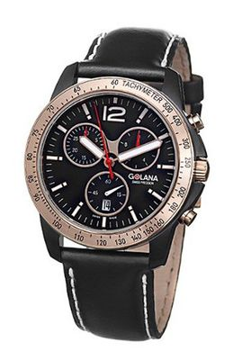 Golana TE220-1 Gents Quartz Chronograph Black Leather Strap