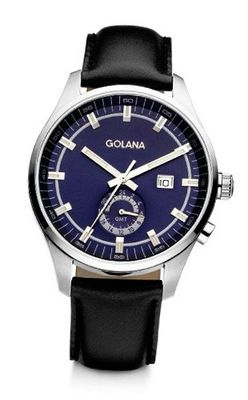 Golana Terra Gmt Quartz with Blue Dial Analogue Display and Black Leather Strap TE300-3