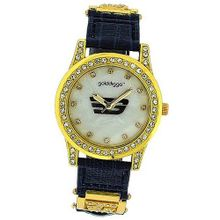 Golddigga Ladies Analogue Mother Of Pearl CZ Set Bezel Blue Strap DIG36D