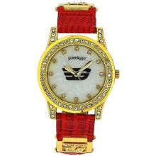 Golddigga Ladies Analogue Mother Of Pearl CZ Set Bezel Red PU Strap DIG36C