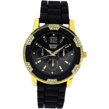 Golddigga Ladies Chrono Effecct CZ Set Bezel Black Silicone Strap DIG40B
