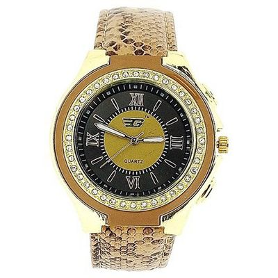 Golddigga Ladies Crystal Brown Snake Skin Design Strap Fashion DIG62C