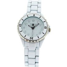 Golddigga Unisex White Analogue Metal Rotating Bezel Bracelet Strap DIG05B