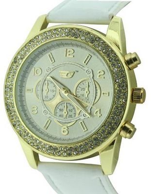uGolddigga GOLDDIGGA quartz with beige Dial analogue Display and white PU Strap DIG57/B