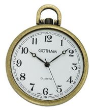 Gotham Antique Gold-Tone Ultra Thin Railroad Open Face Quartz Pocket # GWC15028A