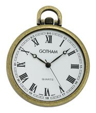 Gotham Antique Gold-Tone Ultra Thin Railroad Open Face Quartz Pocket # GWC15028AR