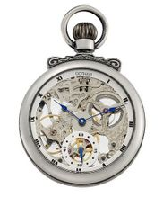 Gotham Antique Silver-Tone Mechanical Pocket with Built-in Stand # GWC14068S