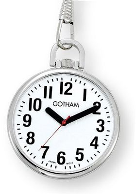 Gotham Silver-Tone Ultra Thin Bold Number Open Face Quartz Pocket # GWC15033S