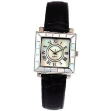 Ladies Mother of Pearl Square Dial Black Leather Strap GOTW100