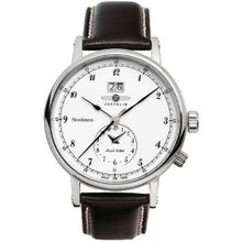 Graf Zeppelin NORDSTERN series, Dual Time Big Date , White Dial 7540-1