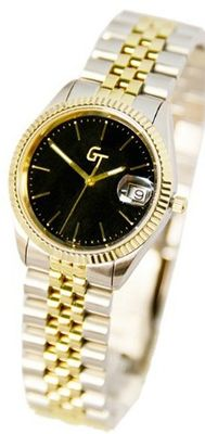 Great Timing GT 2-Tone 10ATM Black Dial Link Band Date Swiss GT...