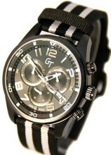 Great Timing GT Swiss Chrono 10 ATM Black and Silver White Stripe GTA9835bk-sil