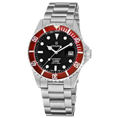 Grovana 1571.2136 Diver Diver Black Dial Red Bezel Automatic
