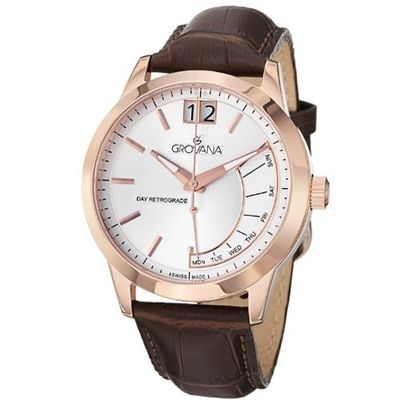 Grovana Retrograde Silver Dial Brown Leather 1722.1569