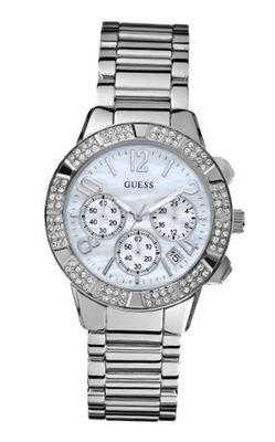 GUESS U0141L1 Dazzling Silver-Tone Sporty Crystal Chronograph