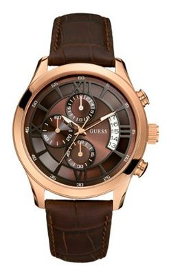 GUESS U14504G1 Brown Genuine Leather Chronograph with Brown Dial