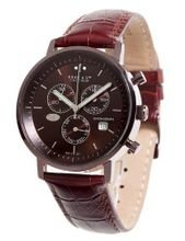 Haas & Cie Quartz with Brown Dial Analogue Display and Brown Leather Strap MFH211NRA