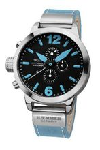 Haemmer DHC-27 Verno Chronograph Stainless Steel Light Blue Leather Date