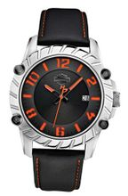 Harley-Davidson Bulova Black & Orange Leather Wrist 76B167