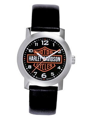 Harley Davidson Bulova 's Bar & Shield Logo . Tried and true. Black dial. Stainless steel case. Black leather strap. 76A04