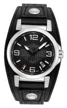 Harley-Davidson Bulova Stainless Steel Black Leather Date . 76B163