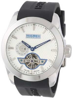 Haurex Italy CA501USN Magister Auto Round Stainless Steel Black Silicone Automatic