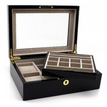 Heiden Executive Valet Box / Box - Cherrywood (Plenty of Space. Holds Large Size es. Removable Tray)