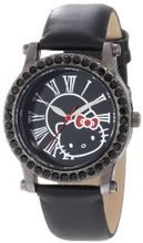 Hello Kitty H3WL1043BK Black Plated Case Leather Strap Roman Numeral Dial